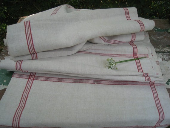 antique handloomed linen roll 10.67y FRENCH REd checkered wedding decor curtain fabric