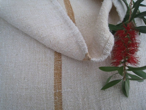 antique grain sack cushion tablerunner upholstery rare CARAMELL wedding decor 52.76 long