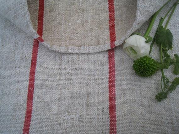 antique grain sack cushion tablerunner upholstery FADED ROSA WOW wedding decor