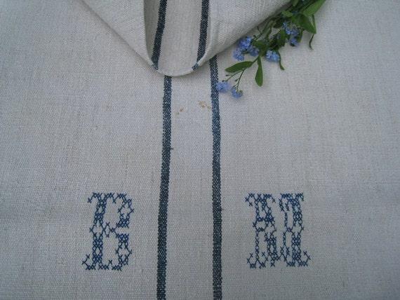 grain sack FRENCH INDIGO runner pillow handloomed upholstery