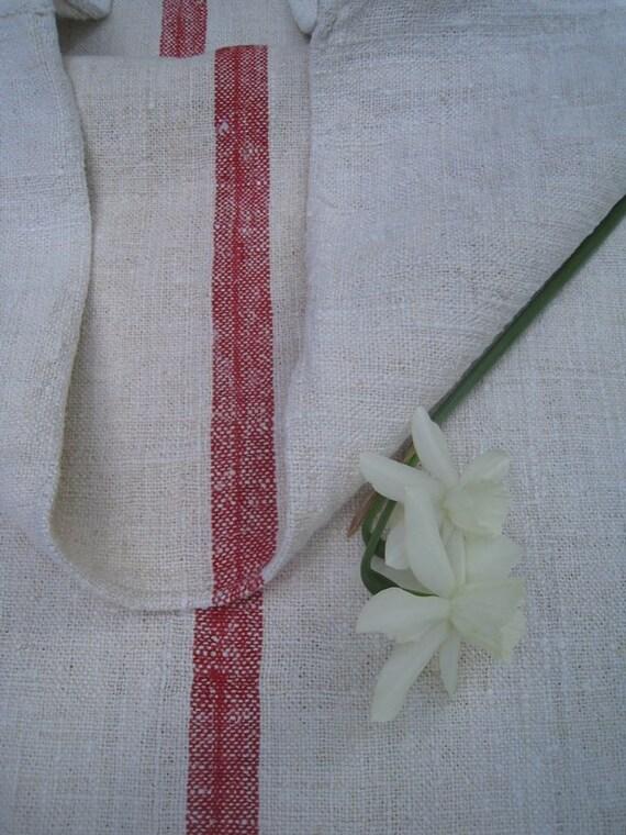 antique FRENCH RED pillow grain sack feedbag tablerunner elegant and classy