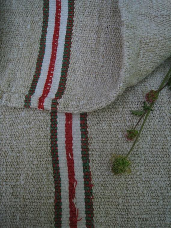 antique grain sack cushion tablerunner upholstery RED GREEN elegant wedding decor