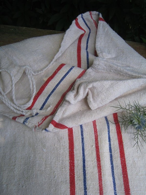 antique grain sack cushion tablerunner upholstery BLUE RED wedding decor 52.76long