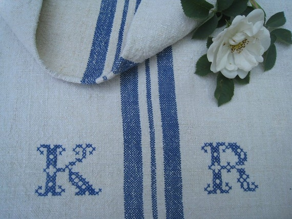 antique grain sack cushion tablerunner upholstery SWEDISH BLUE wedding decor