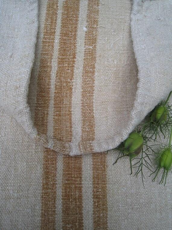 antique grain sack cushion tablerunner upholstery CARAMELL  french linen