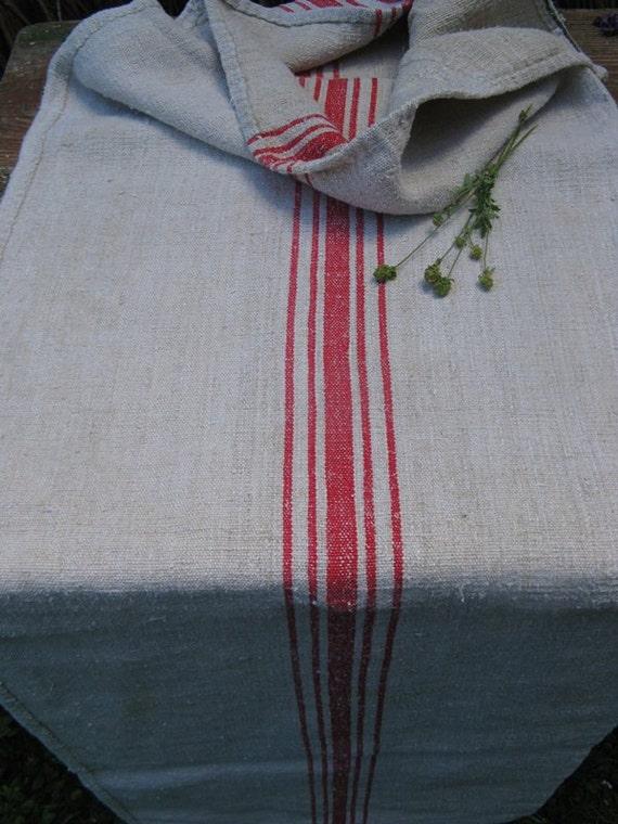 antique grain sack cushion tablerunner upholstery FADED RED wedding decor 55.8long