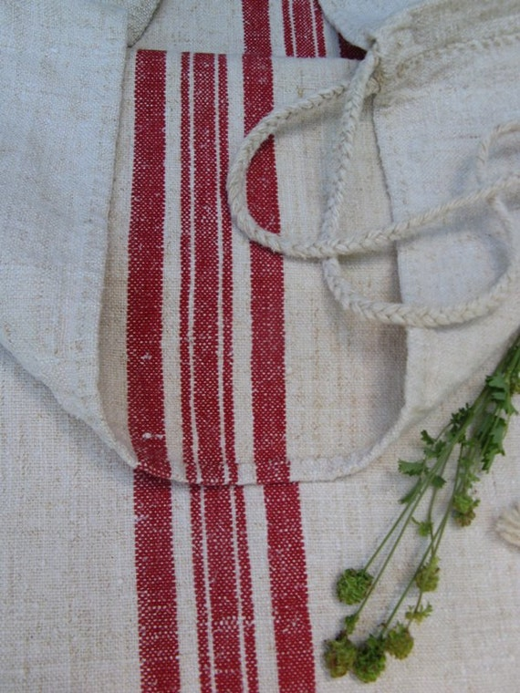 antique grain sack cushion tablerunner upholsteryFRENCH REDwedding decor 52.76long