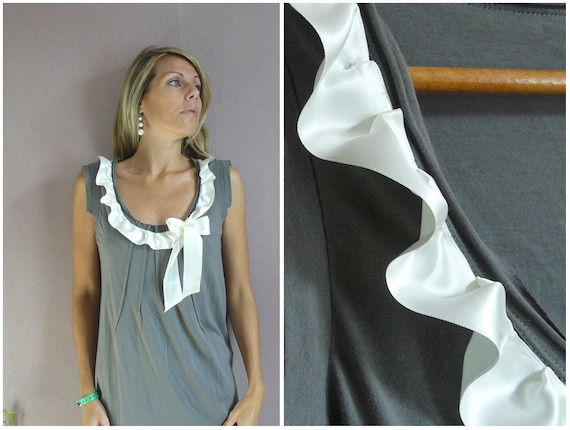 IVORY AND GREY  RUFFLE TOP size S,  M or L