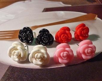 SALE - Mini Black Rose Earrings