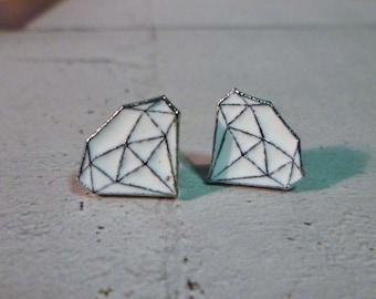 Mini White Diamond Stud Earrings