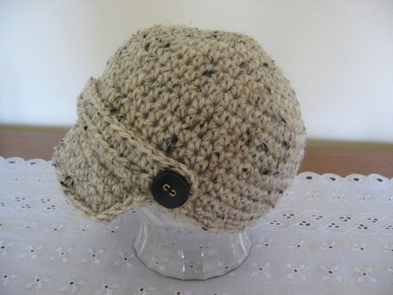 Crochet Newsboy Hat Tan Tweed 6-12 Months