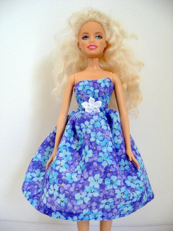 Barbie Doll Dress With Aqua and Purple Flowers