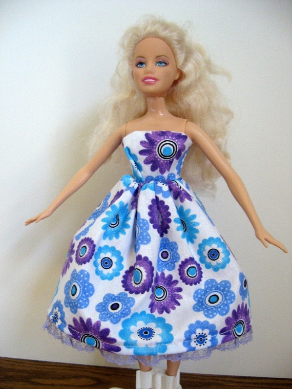 Handmade Barbie Doll Dress Blue and Purple Floral