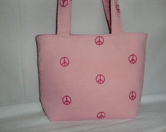 Pink Peace Embroidered Corduroy Medium Bag