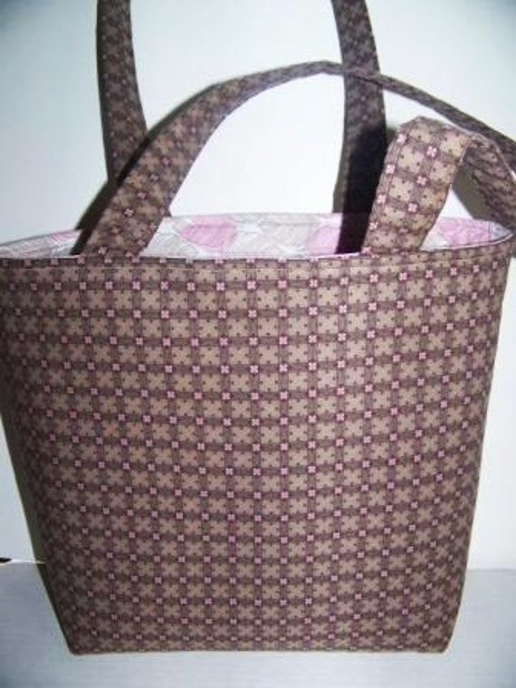 SALE   Taupe Tan Brown and Pink Cotton Bag