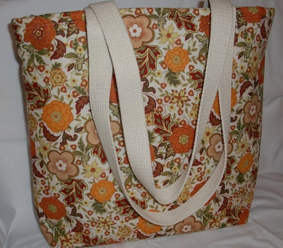 10% OFF SALE!   Cream, Orange, Rust and Brown Flowers Large Bag