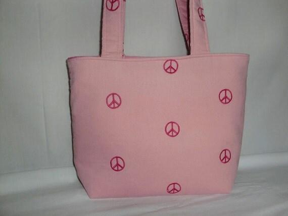 Pink Peace Embroidered Corduroy Medium Bag