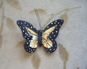 Vintage ceramic butterfly cabochons, Monarch, 50mm, Lot of 4