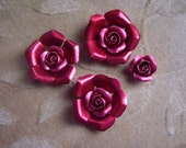 Aluminum/metal rose flower beads, red, 28mm, Lot of 4 sets