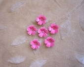 Vintage metal enamel flower beads, pink,13m, Lot of 14