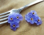 Vintage Lucite/plastic lilac flower beads/cabochons, brass, 28mm,2 sets