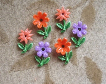 Vintage enamel metal flowers,stems,leaves bead,cabochon, 6 sets