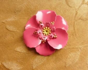 Vintage metal,enamel flower bead,pink poppy,58m, Lot of 1