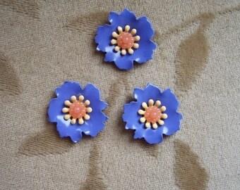 Vintage enamel metal flower beads,cabochons,blue,20mm,4 sets