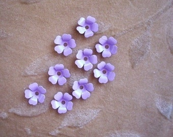 Vintage metal enamel flower beads, purple lilac 13m, Lot of 14