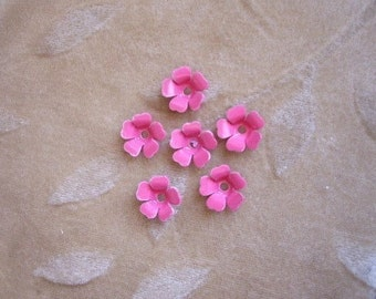 Vintage metal enamel flower beads, pink,13m, Lot of 14