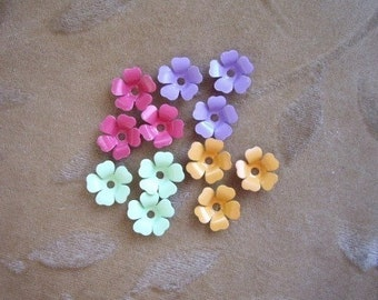 Vintage metal enamel flower beads, mix,13m, Lot of 16