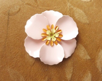 1 vintage enamel metal, 56mm, poppy flower bead/cabochon in a whisper pink color.