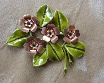 Vintage enamel, bead ,stem/flower,copper,green, Lot of 2 sets
