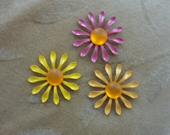 6 sets vintage enamel metal flower bead/cabochonss, rose pink, orange,yellow 28 mm