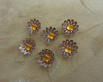 12  vintage copper, brass flower bead sets, approx. 14mm
