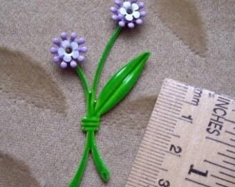 Vintage, enamel metal, lilac flower and stems., set of 2