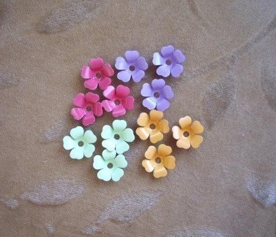 Vintage metal enamel flower beads, mix,13m, Lot of 16