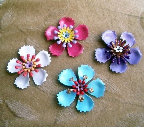4 sets vintage metal enamel flower bead, 30mm