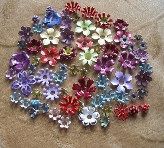 60 Plus Vintage Enameled Metal Flower Beads In Assorted