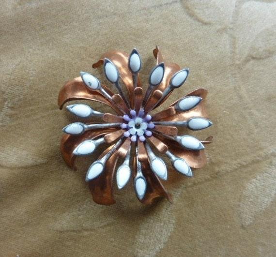 Vintage metal,enamel flower bead/cabochon,copper,48mm, Lot of 2 Sets