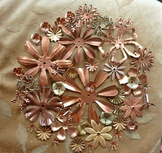 Vintage copper,brass,metal flowers, beads, 100 plus