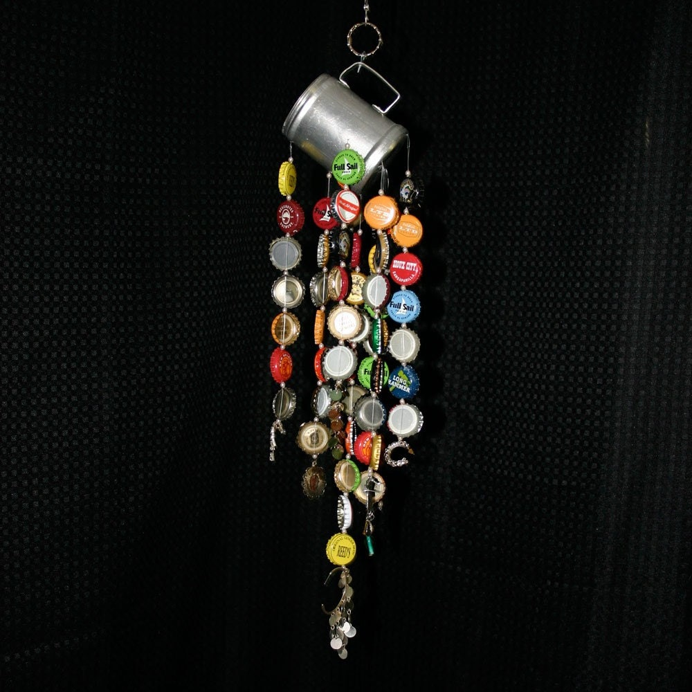 bottle cap wind chime recycled materials