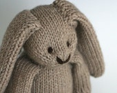 "Large Cashmere Bunny - Porridge - Hand Knit Luxury Toy Rabbit, 14"" tall"