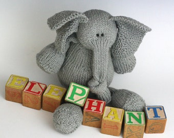 E is for Elephant - PDF Knitting Pattern for a Stuffed Toy Pachyderm