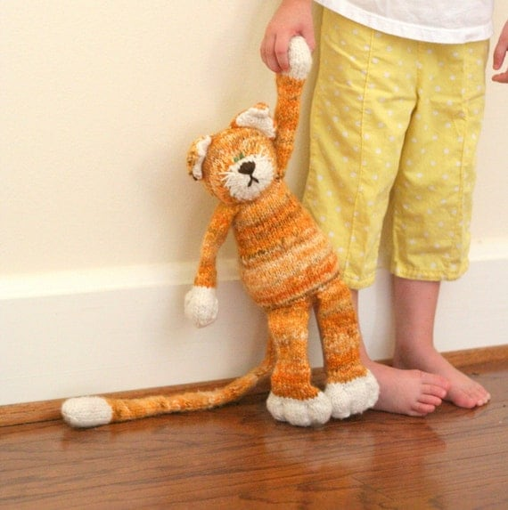 """SPECIAL ORDER for juliebogacz - Half a Ginger Cat -  Organic Wool Hand Knit Large Tabby Kitty Toy, 15"""" tall"""