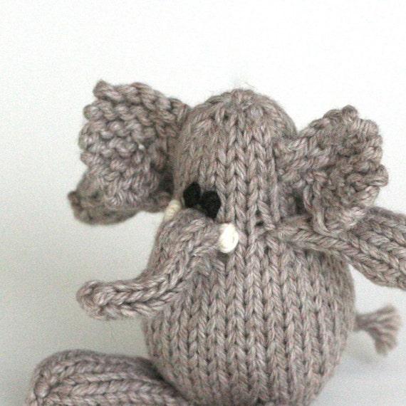 "Itty Bitty Portobello Elephant - Hand Knit Organic Cotton Toy Elephant, 5"" Tall"
