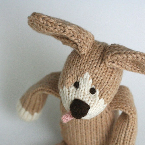 "Chocolate Malt Doggy - Hand Knit Organic Cotton Toy Puppy Dog, 10"" tall"