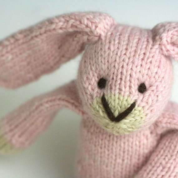 "Angora and Wool Rabbit - Cotton Candy - Hand Knit Toy Bunny, 12"" tall"