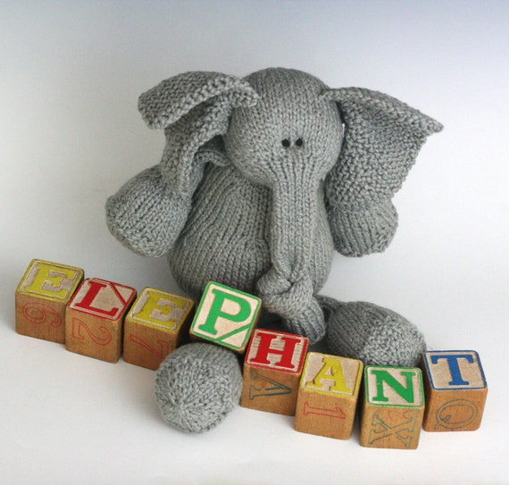 E is for Elephant - PDF Knitting Pattern