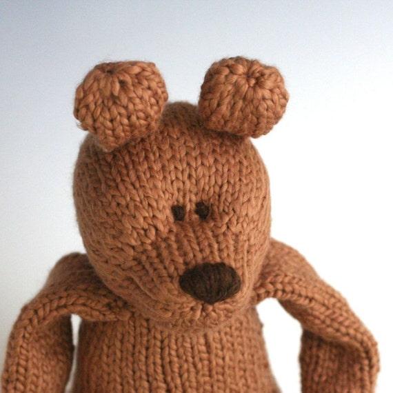 "Cinnamon Bear -  Organic Cotton Hand Knit Large Teddy Bear Toy, 16"" tall"